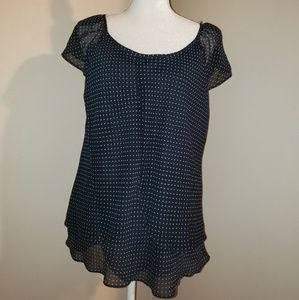Dress Barn Size XL.  Dk Navy with Polka Dots. EUC